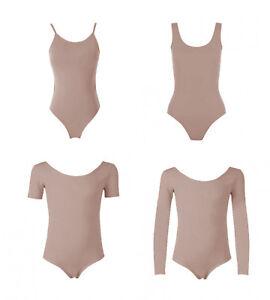Girls-Kids-Tan-Nude-Cotton-Low-U-Back-Dance-Ballet-Gymnastic-Leotard-Bodysuit