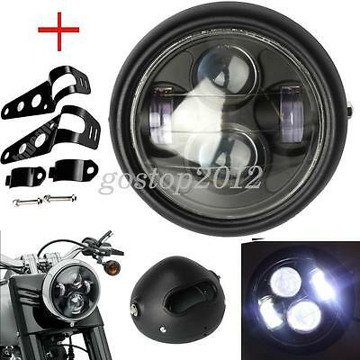 "6.5"" 6 1/2"" Motorcycle  Hi/Lo Projector LED Matte Black Headlight + Bracket Set"