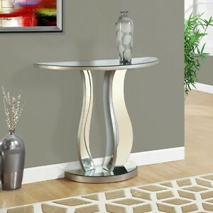 Image Is Loading Mirrored Console Table Half Moon Modern Glam Style