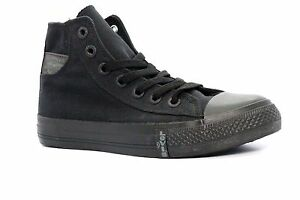 LEVIS 521833-01A BUCK HI Wmn's (M) Black Canvas Skate Hi Top Shoes