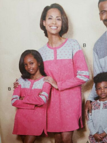 Sewing Pattern Family Sleepwear Adult S L XL Kids 3 4 5 6 7 8 Butterick 6531