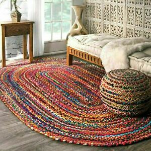 Bohemian-Braided-Area-Reversible-Cotton-Chindi-Hand-Woven-Rug-Carpet-Multi-Color