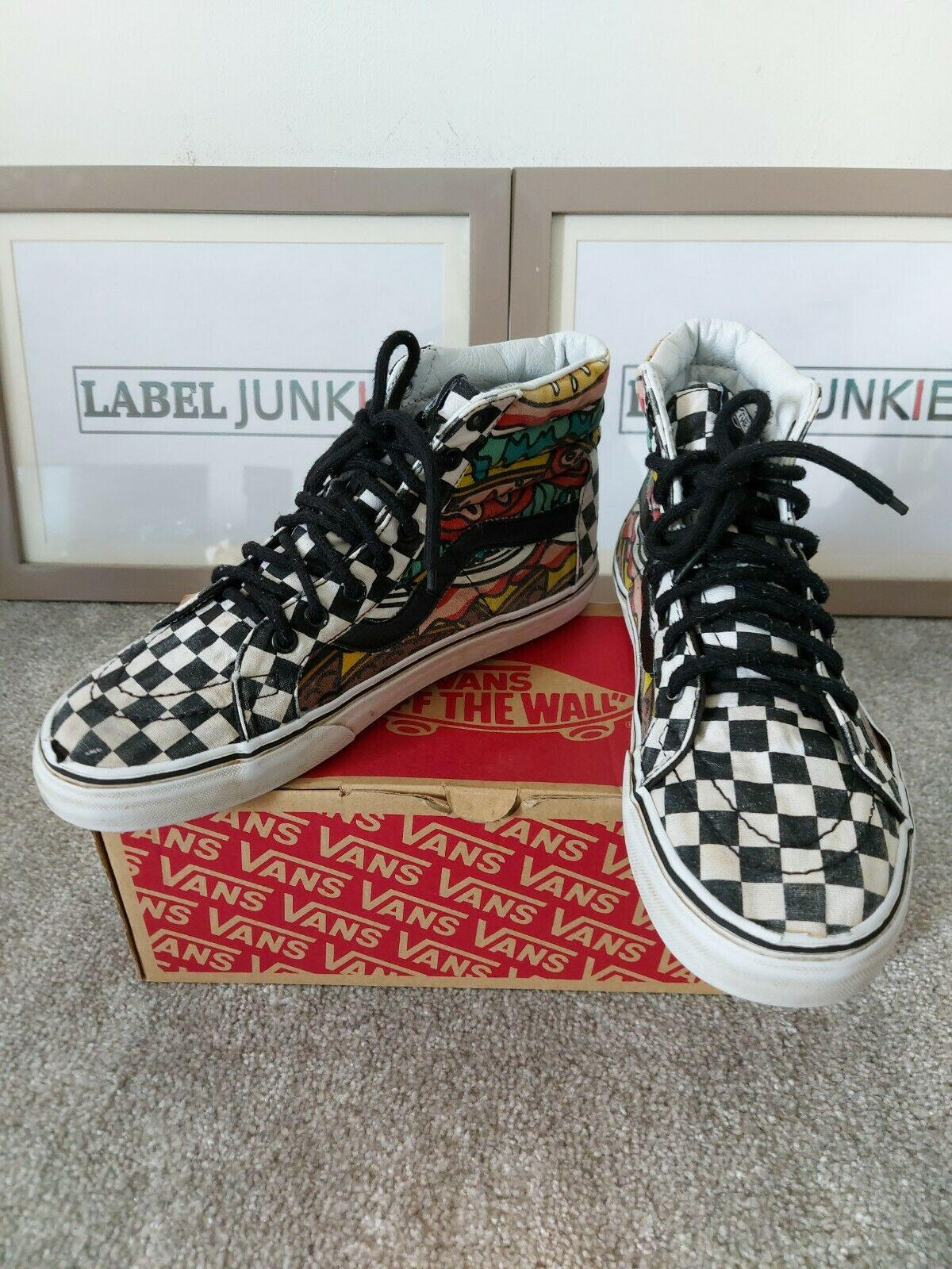Men's VANS Off The Wall Checkerboard Hi Top Trainers Size UK 6.5 Excellent Cond
