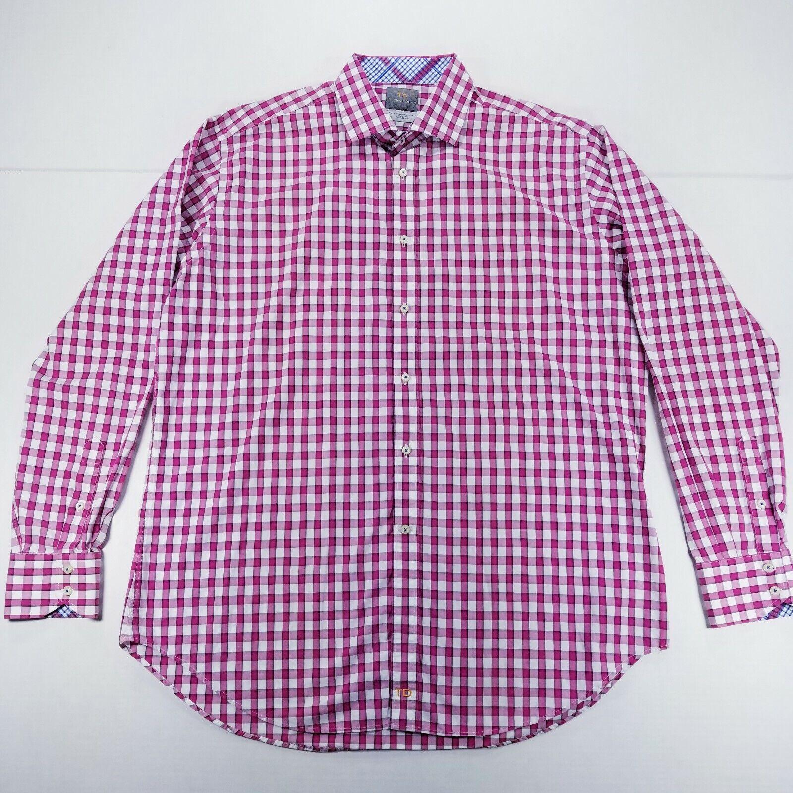 bd71804d Thomas Dean long sleeve button front Men's Pima Cotton Hot Pink ...