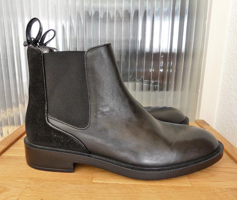 149a4ae81 Zara Woman chelsea botín cuero negro botín Leather Boots c0aeb4 ...