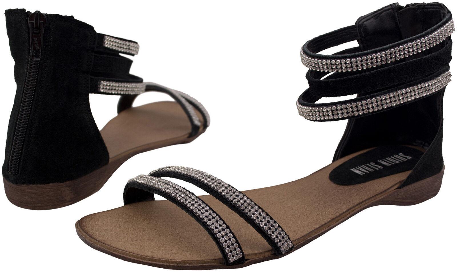 Cuero sandalias negro Swarovski elementos sandals Flat Leather negro