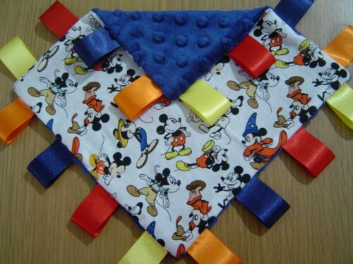 Various Colours and Styles Mickey Mouse Taggy Blankets 20cm square