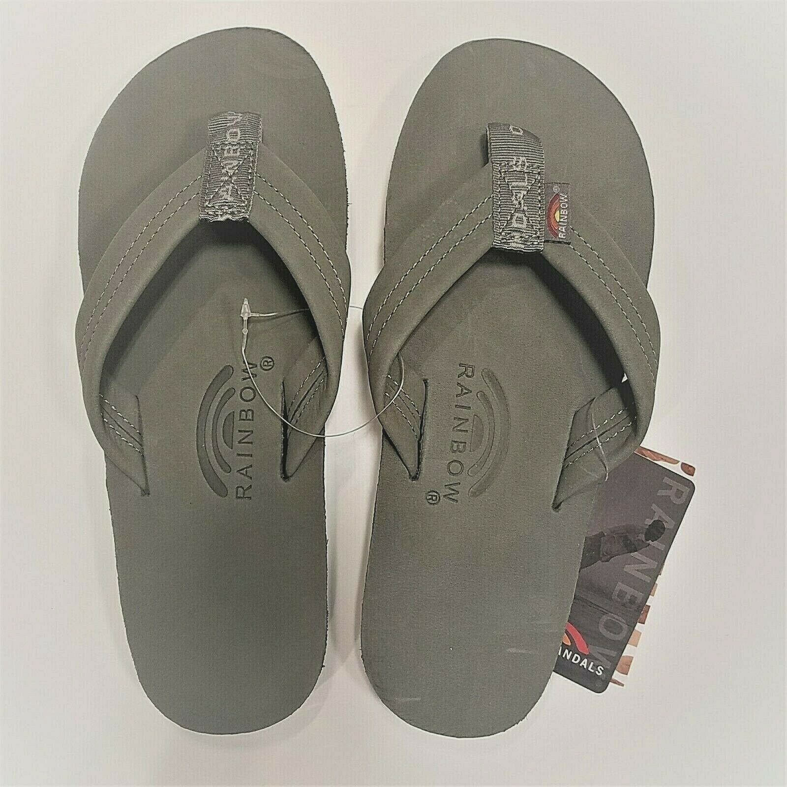 Rainbow Mens Single Layer Sandals Premier Leather Grey Size XXXL (13.5-15)