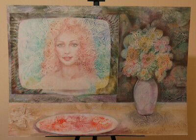 Art 34 5/16x24 3/8in Modern Painting Technical Mixed Portrait Woman Onirico P33.3 To Prevent And Cure Diseases