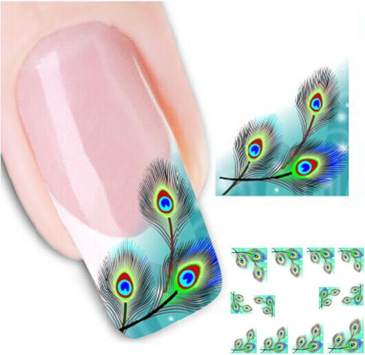 Hot Sale Fashion Peacock Feather Nail Art Transfer Nail Sticker Tip Decoration