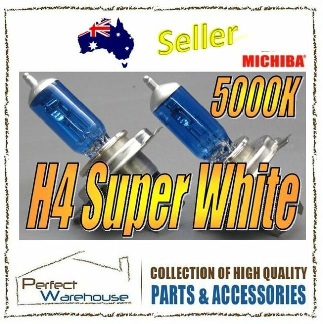 12V H4 60/55W 5000K Michiba Super White Halogens Light Bulb High Low Beam