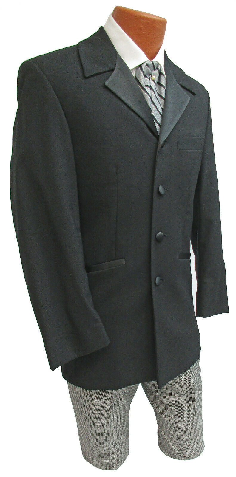 Black Tuxedo Jacket with Houndstooth Pants Steamp… - image 2