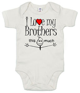 GRACIOSO-Body-de-bebe-034-I-LOVE-MY-BROTHERS-This-Much-034-Body-Bros