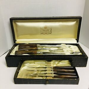 VINTAGE-Crown-Crest-SHEFFIELD-England-CARVING-SET-7pc-Knives-Stainless-BAKELITE