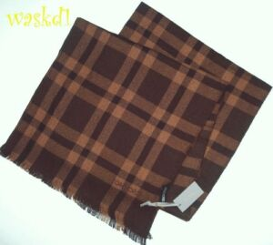 TOM-FORD-cashmere-amp-silk-Brown-amp-Camel-PLAID-28x78-034-XLarge-Scarf-NWT-Authentic