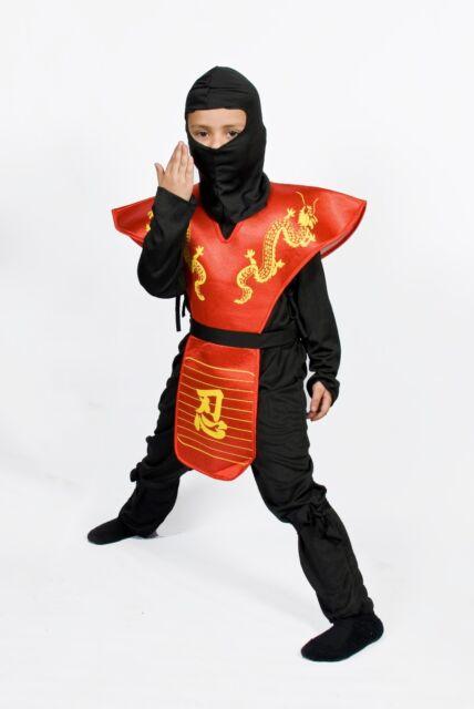 Boys Ninja costume Halloween Kids Child Dragon warrior Size 5 6 7 8 9 10 11 12