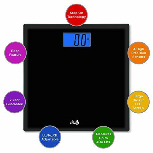 Digital Bathroom Scale Body Weight LCD Electronic Weighing Tempered Glass 400 lb