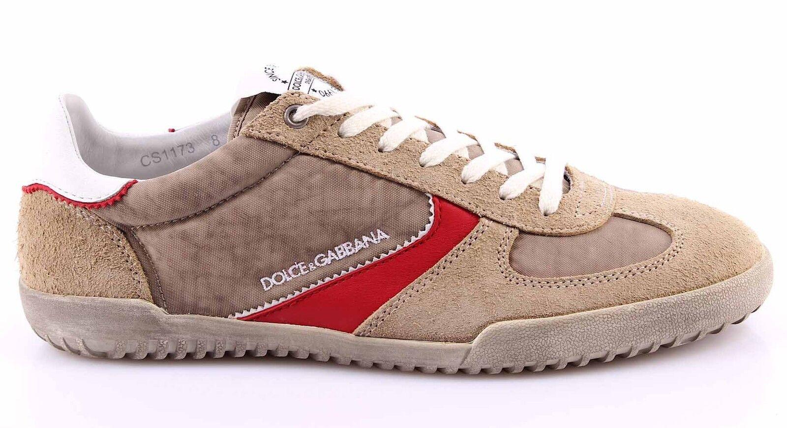 Herren GABBANA Sneakers Schuhe DOLCE & GABBANA Herren Wildleder Canvas Sand Beige 52622c