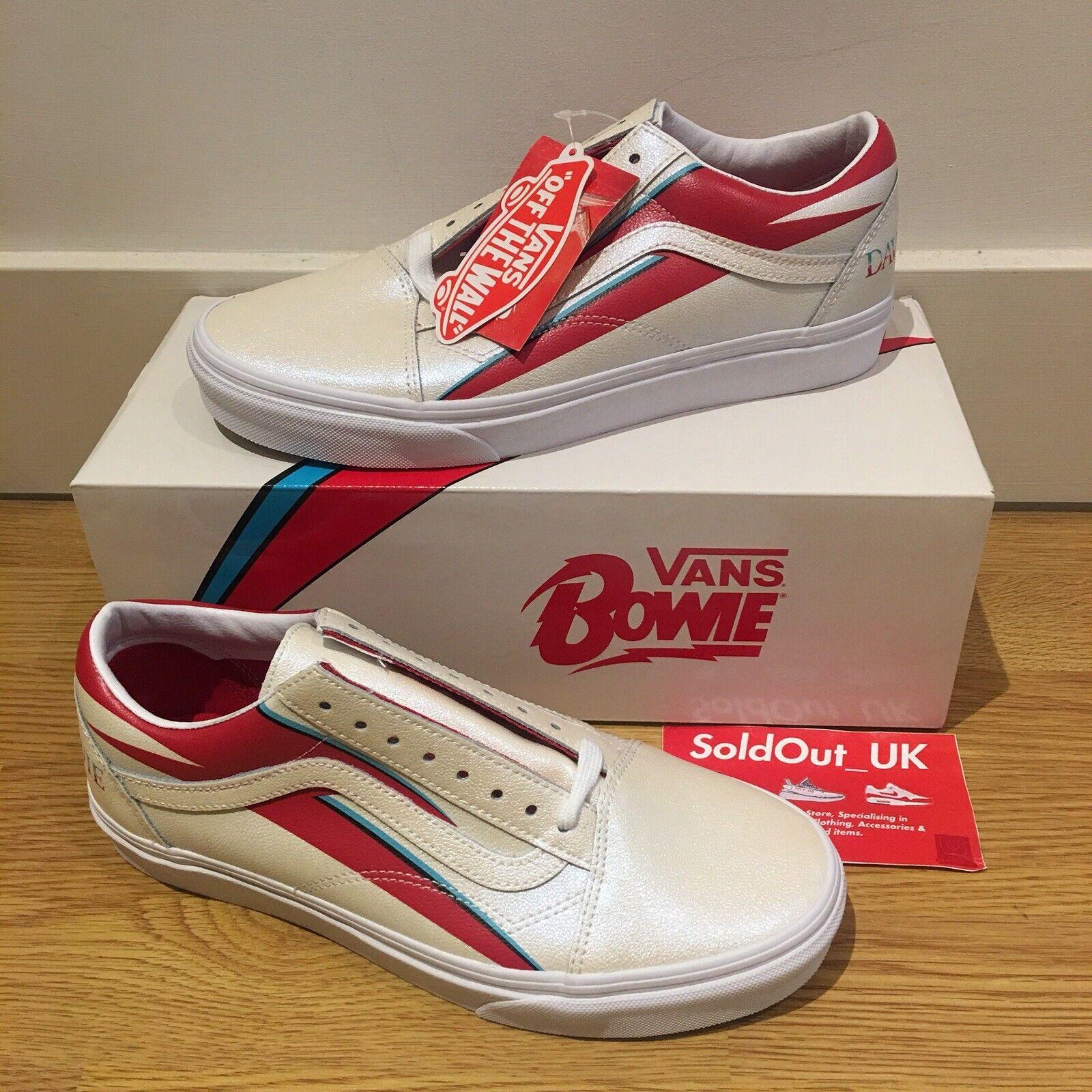 Vans x David Bowie Old Skool scarpe da ginnastica    BIANCO ROSSO  UK7 US8  Deadstock  bc38d4