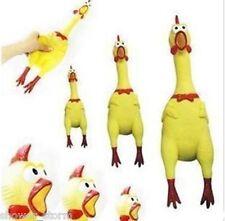 Screaming Rubber Yellow Chicken Pet Dog Toy Squeak Squeaker Chew Gift 16cm