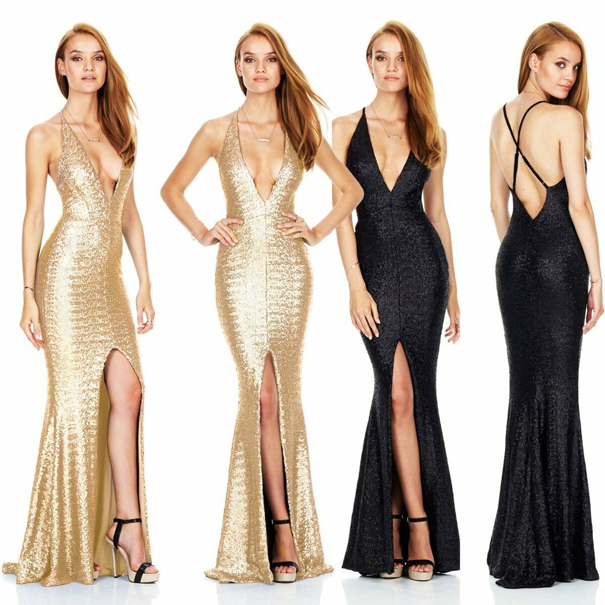 Amazing Sequin Long Formal Dresses Evening Gown Prom Ball Gala Split ...