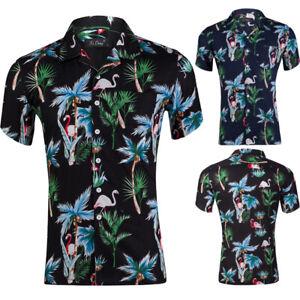 Hawaiian-Mens-Flamingo-Print-Casual-Shirt-Short-Sleeve-Slim-Dress-Shirts-Tops