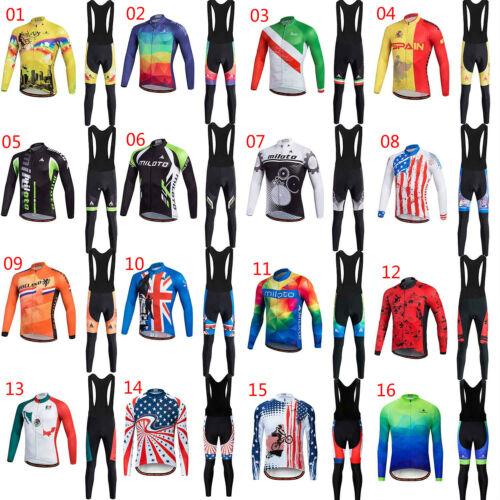 Miloto Men/'s Long Sleeve Cycling Jersey Bib Pants Padded Bicycle Clothes Set