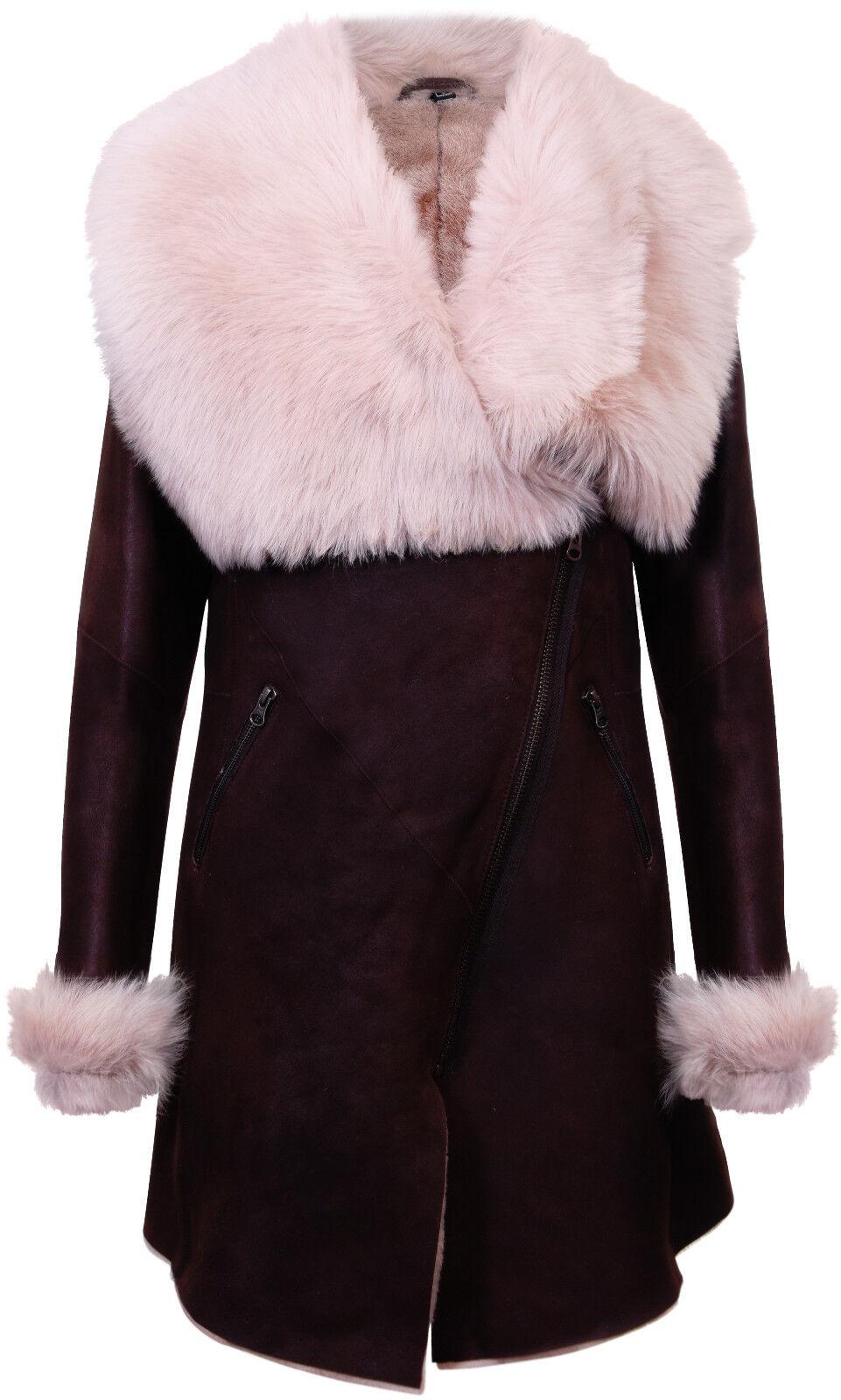 Women's Brown Cream Suede Merino Shearling Sheepskin Coat With Toscana Collar