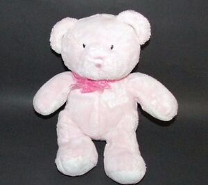 baby Plush MY FIRST TEDDY Pink Bear gingham bow Stuffed Animal Toy Soft 10.5""