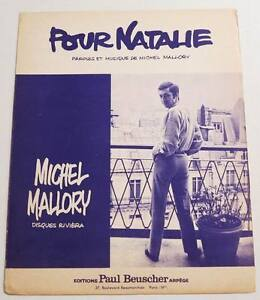 "Partition vintage sheet music MICHEL MALLORY : Pour Nathalie * 60's - France - Commentaires du vendeur : ""Voir description svp / Please read details"" - France"