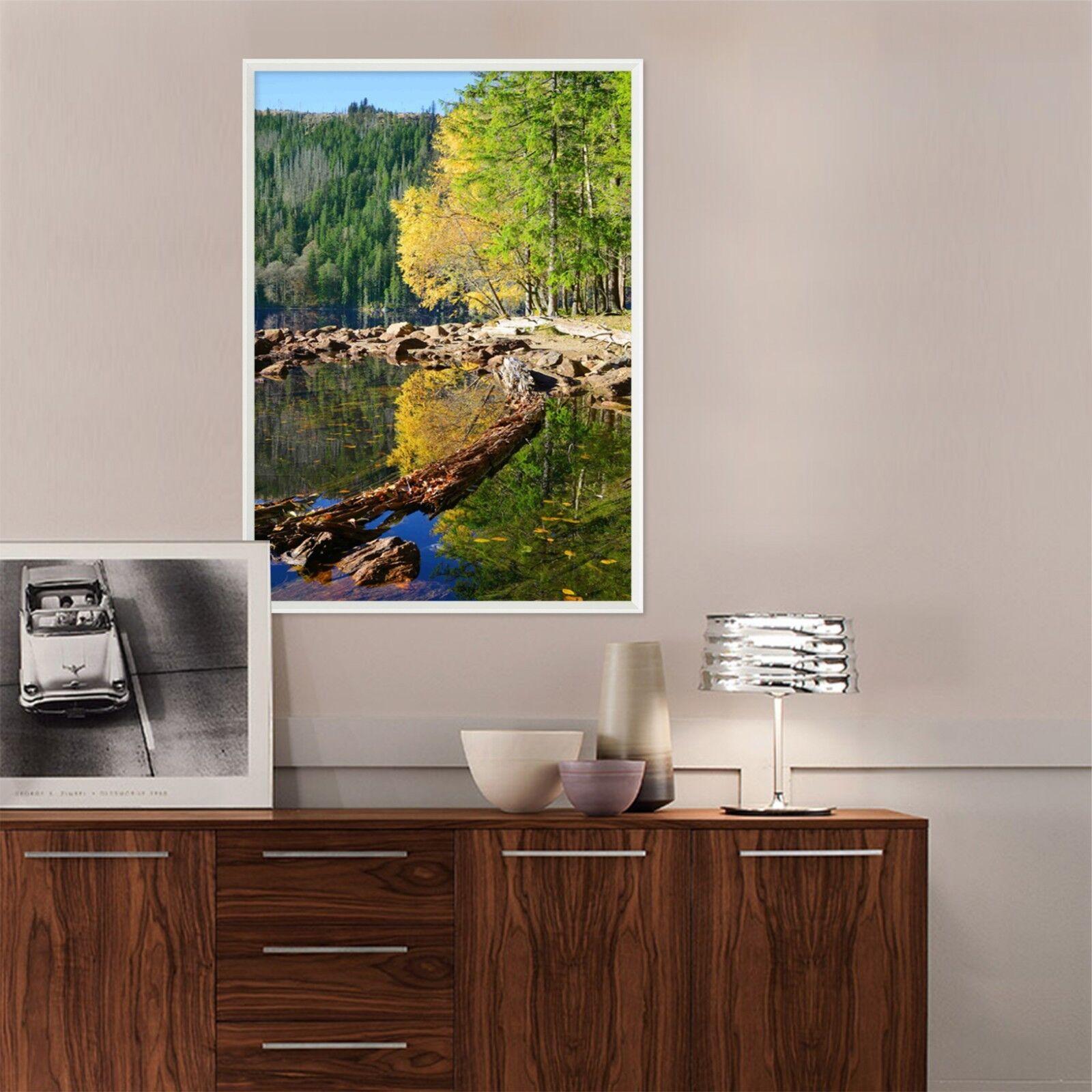 3D Lakeside Trees View 23 Framed Poster Home Decor Drucken Painting Kunst WandPapier