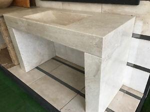 Dettagli su Lavabo bagno in pietra naturale Bianco di Orosei 140x60x85 cm