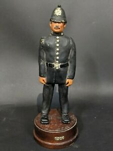 Antique-Dated-1955-Police-Models-Heavy-Resin-On-Wooden-Stand-cracked-leg