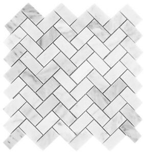 Carrara-White-1x2-Herringbone-Mosaic-Tile-Polished