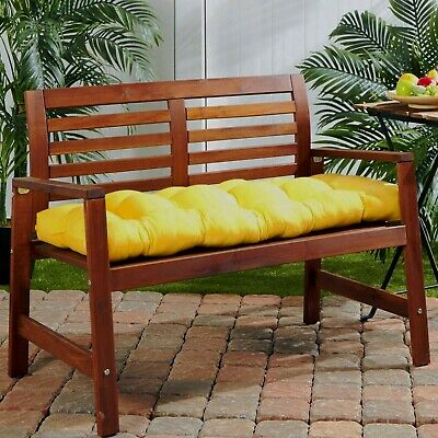Solid Yellow Outdoor Tufted Cushion for Bench Swing Glider with Ties Choose Size