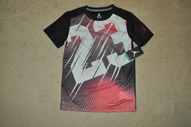 ff03a6a3233db1 Nike Air Jordan Short Sleeve Dri-fit Shirt Boys Size Large L Black ...