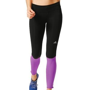 Details zu adidas Performance Response Long Tight Women schwarzlila Laufhose Runninghose