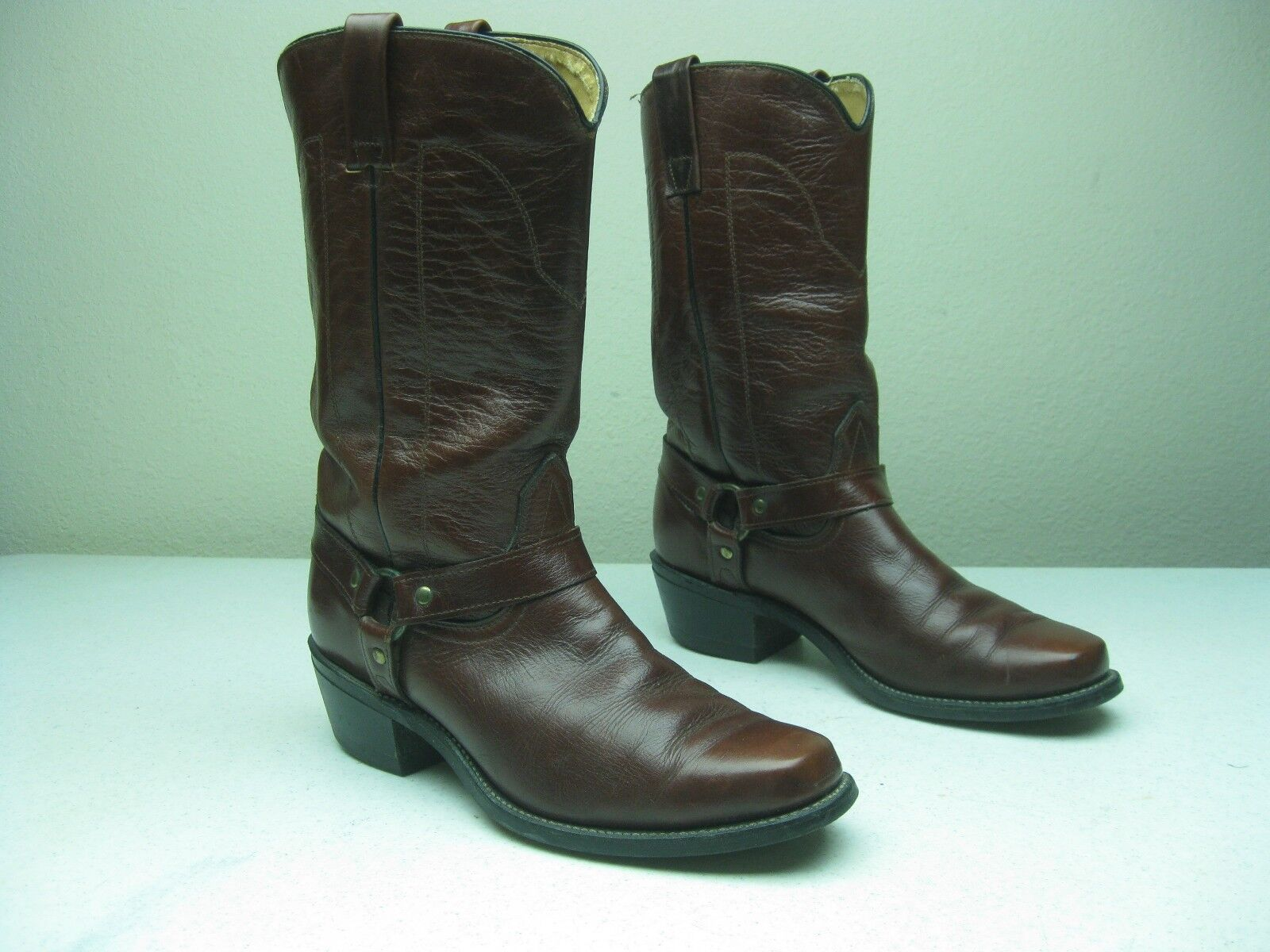 VINTAGE MASON HARNESS OXBLOOD MADE IN  A SQUARE TOE HARNESS MASON ROCKABILLY BOOTS 8.5D 0d9243