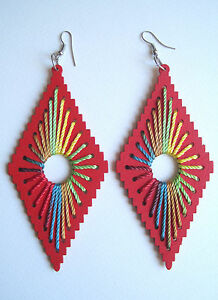 AZTEC-WOODEN-TRIANGLE-ETHNIC-EARRINGS-INDIE-GRUNGE-NEO-SOUL-BLUE-PINK-RED-PURP