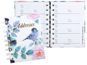 FLORAL BIRD Address Book A-Z Spiral 130 x 100mm 72Leaf Cumberland 767003*