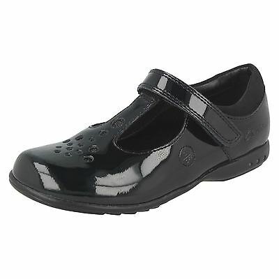 INFANT GIRLS CLARKS LEATHER PATENT RIPTAPE STRAP LIGHTS SCHOOL SHOES TRIXI CANDY
