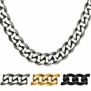 Halskette-Herren-Edelstahl-Kette-Panzerkette-Koenigskette-Armband-silber-schwarz