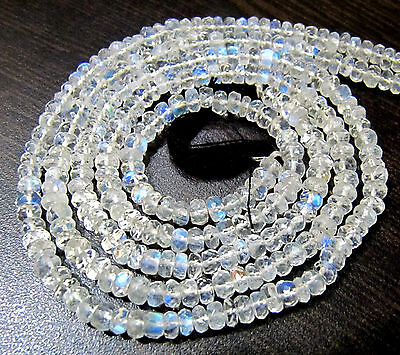 Natural White Rainbow Moonstone Faceted Beads Size 4-6mm Length 15 inch