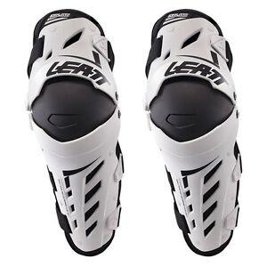 LEATT DUAL AXIS KNEE & SHIN GUARDS WHITE HINGED MOTOCROSS MX ENDURO BMX BRACES