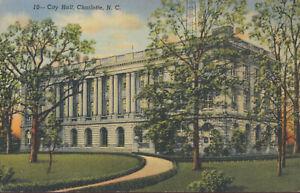 Charlottle-NC-City-Hall-POSTCARD-Linen-War-Bonds-Postmark-Dec-24-1945