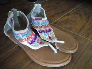New Nwot Justice Girls Sz 13 Beaded Sandals Shoes Ebay