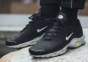 Details about Nike Air Max Plus TN Tuned Premium Men's Black Silver Grey Volt 815994 003