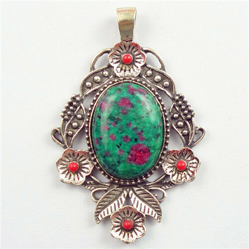 Ruby in Fuchsite Oval Wrapped Tibetan Silver Pendant Bead D18070606