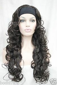 New-vogue-3-4-wig-with-headband-dark-brown-curly-womens-long-half-wigs-hairpiece