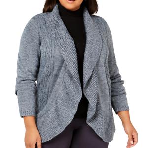 Karen-Scott-Cardigan-Sweater-Plus-Size-2X-Open-Front-Cocoon-Blue-New